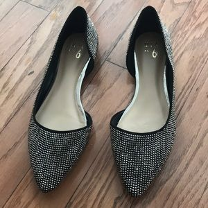 Silver and Black Rhinestone Flats by Mix No.6